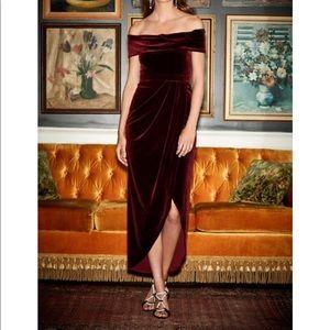 Anthropologie BHLDN Edison Velvet Dress in Burgund